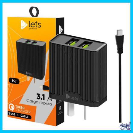 Cargador rápido para dispositivos móviles 2 USB + Cable V8 en Argentina Vende