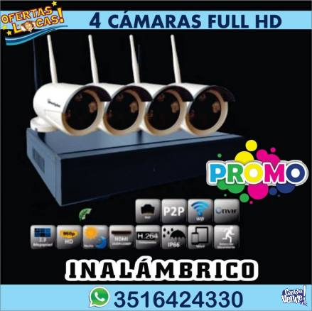 Camaras De Seguridad Kit 4 Dvr Wifi Inalambrico ENVIO