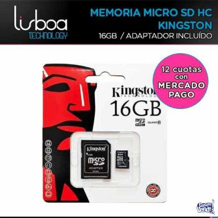 Memoria Micro Sd 16Gb + Adapt.Sd Clase 10 Kingston ¡CENTRO!