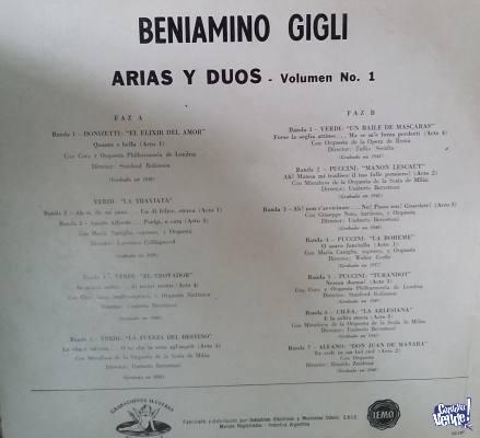 BENIAMINO GIGLI   ARIAS Y DÚOS  VOLÚMEN 1  LONGPLAY  VINIL