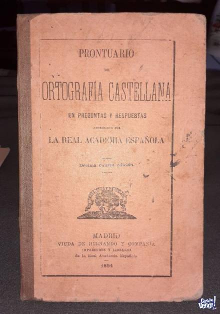 Prontuario De Ortografía Castellana 1894 en Argentina Vende
