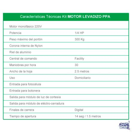 Kit Motor Para Porton Levadizo Ppa Levante 2 Controles Ppa