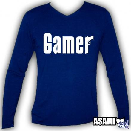 Remera Mangas largas Azul Estampa Gamer