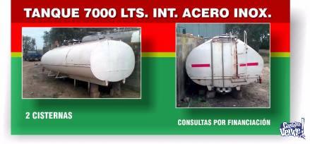 TANQUE 7000 lts. TERMICO 2 CISTERNAS INTERIOR DE ACERO