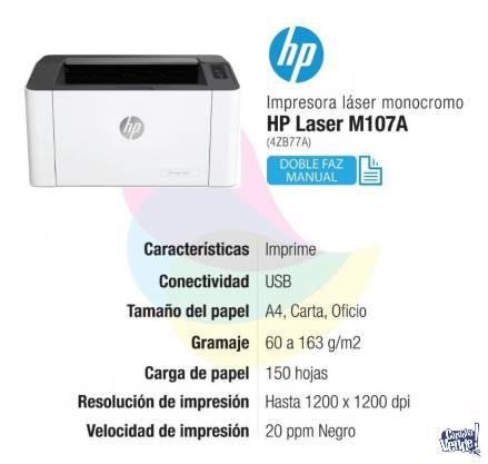 HP LASER 107a IMPRESORA SUPER EFICIENTE! 1 BLOCK A4 DE REGAL