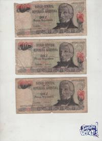 3 BILLETES ARGENTINOS USADOS  $ 250.-