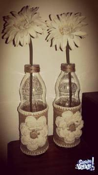 Botellas con detalle de arpillera y crochet Divinas!!