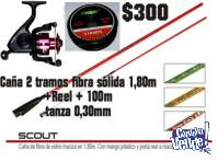 Combo Caña 2 Tramos 1,80m + Reel Sumax Etrex + Tanza