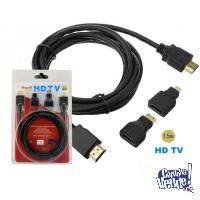 Combo Hdmi Kit Cable + Adaptadores Hdmi A Mini Y Micro Hdm