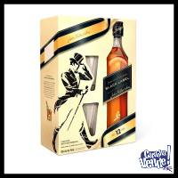 JOHNNIE WALKER - DOUBLE BLACK - ESTUCHE (WHISKY + 2 VASOS)