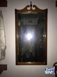 espejo biselado con marco madera usado impecable