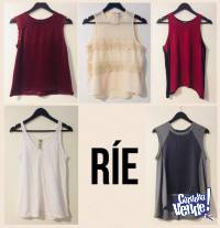 5 Remeras Musculosa Top Marca Rie Talle S y M