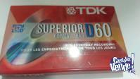 Cassette TDK D60 made in Korea nuevo,sellado