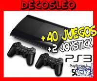playsation 3 500 gb con 40 juegos + 2 joystick $24999