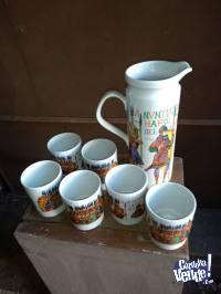 Vasos y jarra cervecera, juego de café