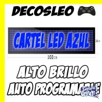 Cartel Led Azul Alto Brillo Autoprogramable De 1mt Decosleo