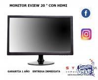 "promo monitores de 20 ""  led con hdmi eview"