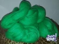 400 gr. de mohair semifino verde manzana, sedificado- 4 made
