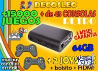 *** CONSOLAS RETRO con 2 joystick de 64gb con 15.000 juegos