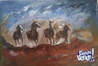 Cuatro caballos galopando (Cuadro al Óleo)