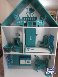 Casita de Muñecas Barbie MDF 9MM,LACA POLIURETANICA-