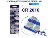 PILA CR2016 LITIO T&E X5 UNIDADES BLISTER SELLADO