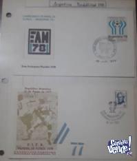 2 sobres Argentina Mudial del 78- agosto 77/ EAM 78, con est