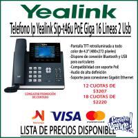 Telefono Ip Yealink Sip-t46u PoE Giga 16 Lineas 2 Usb