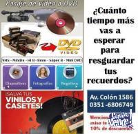 Traspaso de video, casetes, discos de vinilo, fotografias