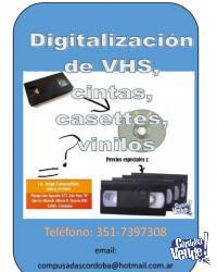 Digitalización de VHS, videos 8 m.m., mini dv's, cassettes