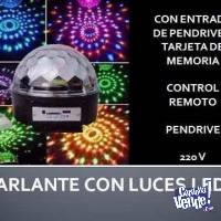 Bola Led Rgb Audioritmica Colores Parlante Usb Fiesta Luces!