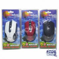 MOUSE OPTICO CON CABLE USB GLOBAL ELECTRONICS COLORES