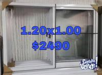 Ventana corrediza 120x100 aluminio nueva c/vidrios. Fabrica