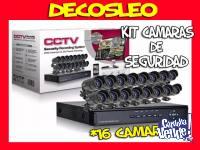 Kit Seguridad Dvr 16 Ch + 16 Camaras Exterior Hdmi + Cables