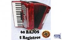 Acordeon A Piano Heimond De 48 Bajos C/estuche y correas
