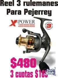 Reel pesca 3 rulemanes para Pejerrey