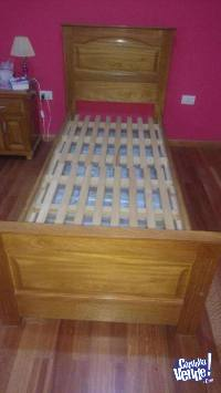 Cama madera roble con marinera desplegable