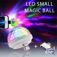 Mini Bola Magica Luz Led Rgb Usb Celular Micro Usb Fiesta !!