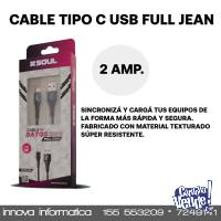 CABLE USB 2.0 A TIPO C FULL JEANS BLANCO 1MTS USB