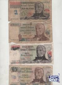 CUATRO BILLETES ANTIGUOS ARGENTINOS   $ 150 los 4.-