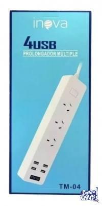 ZAPATILLA PROLONGADOR 3 ENCHUFES 4 USB NUEVOS