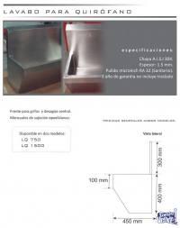 LAVABO QUIRÚRGICO 750 ACERO INOXIDABLE CALIDAD 304